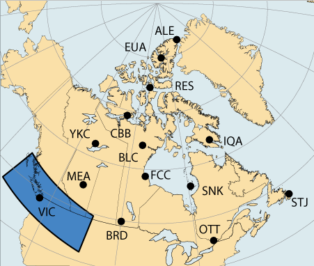 Regional Map Of Canada.Current Regional Magnetic Conditions