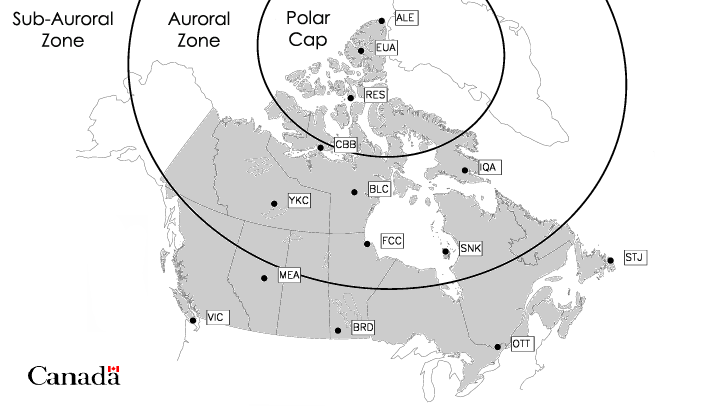 Map showing the location of magnetic activity zones in Canada.  The auroral zone is a band across the Hudson Bay and the Yukon.  North of that is the polar cap.  South of the auroral zone is the sub-auroral zone.